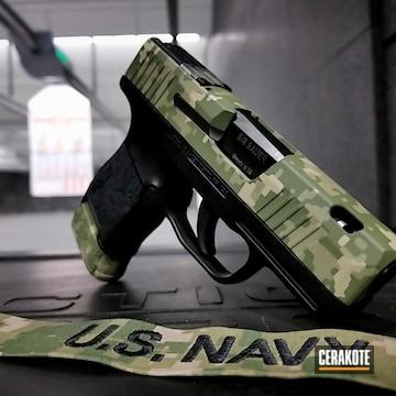 Digicam Sig Saur Pistol Cerakoted Using Desert Sage And Multicam® Dark Green