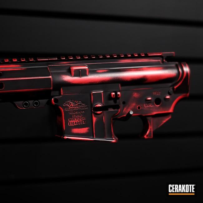 Cerakoted: S.H.O.T,Battle Rifle,Anderson,AR Parts,AR Build,AR15 Lower,Red,Custom Rifle,FIRE E-310,Graphite Black H-146,AR,Custom Rifle Build,Ar Rail,AR Upper,AR Rifle,AM-15,AR-15