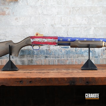 Distressed American Flag Themed Shotgun Cerakoted Using Frost, Usmc Red And Platinum Grey