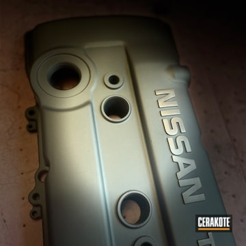 Nissan Valve Cover Cerakoted Using Titanium
