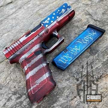 Distressed American Flag Themed Glock Cerakoted Using Snow White, Usmc Red And Nra Blue
