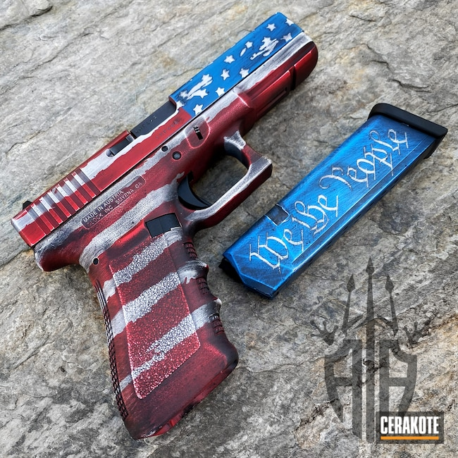 Cerakoted: S.H.O.T,USA,USMC Red H-167,Pistol,American Flag,Red White And Blue,Patriotic,NRA Blue H-171,Battleworn,Snow White H-136,Graphite Black H-146,Glock,We the people,Distressed Red White Blue