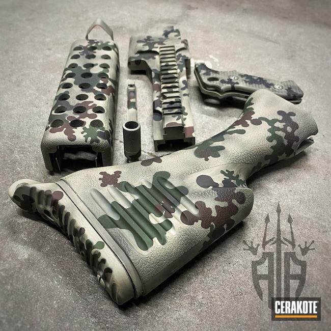 Custom Camo M240 Cerakoted Using Desert Sage, Multicam® Dark Brown And Multicam® Dark Green