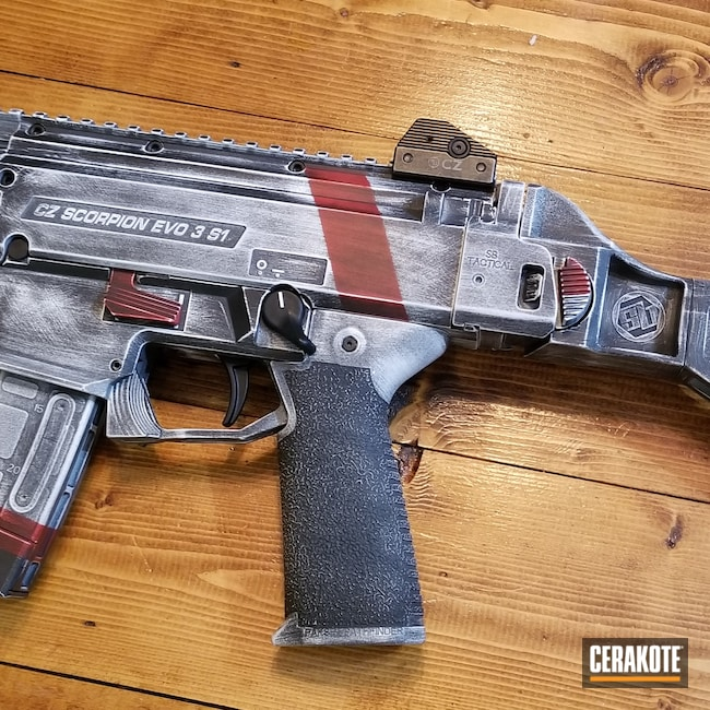 Cerakoted: S.H.O.T,9mm,CZ Scorpion Evo,FIREHOUSE RED H-216,Graphite Black H-146,Stormtrooper White H-297,CZ