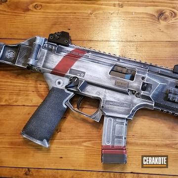Cz Scorpio Evo Cerakoted Using Stormtrooper White, Graphite Black And Firehouse Red