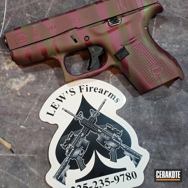 Cerakoted: S.H.O.T,Tiger Stripes,BLACK CHERRY H-319,Glock,MULTICAM® DARK GREEN H-341