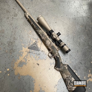 Savage Model 110 Rifle And Vortex Scope Cerakoted Using Titanium, Sand And M17 Coyote Tan