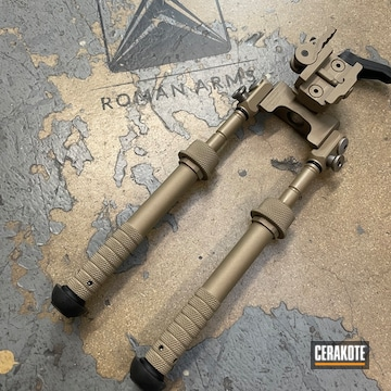 Bi-pod Cerakoted Using Titanium, Sand And M17 Coyote Tan