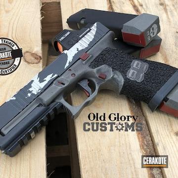 Glock 17 Cerakoted Using Crimson, Stormtrooper White And Bull Shark Grey