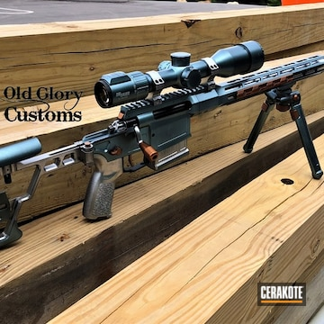 Bolt Action Rifle Cerakoted Using Gloss Black And Aztec Teal