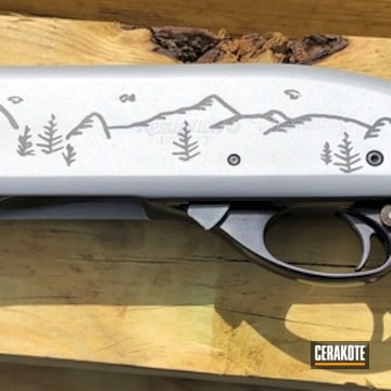 Remington 870 Shotgun Cerakoted Using Crushed Silver And Midnight Blue
