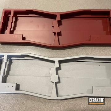 Mechanical Keyboard Housings  Cerakoted Using Crimson And Crushed Silver