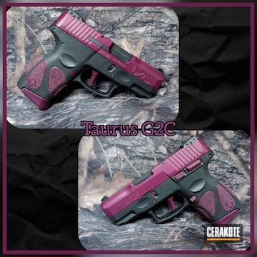 Taurus G2c Pistol Cerakoted Using Black Cherry And Graphite Black