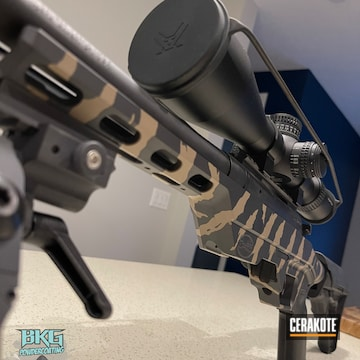 Bolt Action Rifle Cerakoted Using Armor Black And Fde