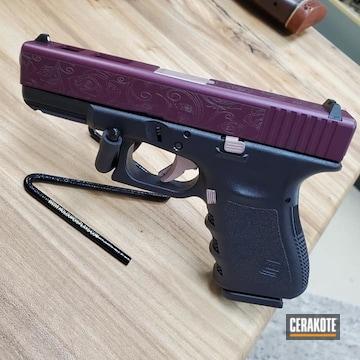 Glock 19 Pistol Cerakoted Using Rose Gold, Black Cherry And Graphite Black