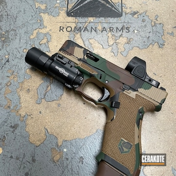 Woodland Camo Glock 19x Cerakoted Using Graphite Black