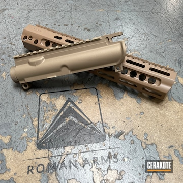 Ar Upper And Handguard Cerakoted Using Titanium, Sand And M17 Coyote Tan