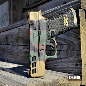 Woodland Camo Pistol Cerakoted Using Graphite Black And Gold