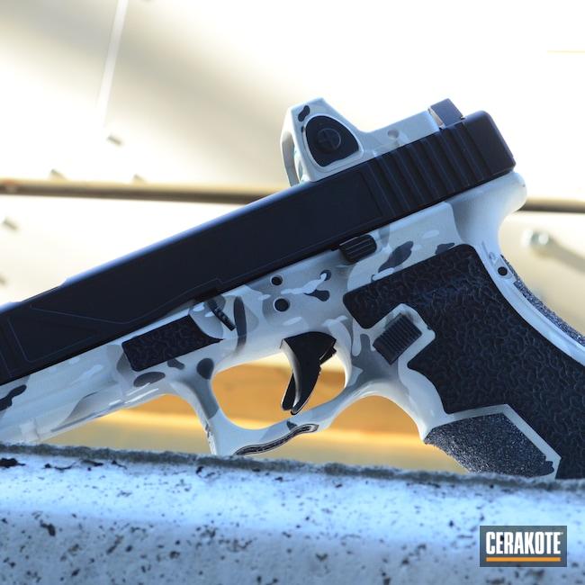 Cerakoted: Hidden White H-242,S.H.O.T,10mm,Snow White H-136,Silicone Carbide,Graphite Black H-146,Hand Stippled,Laser Engrave,Urban Camo