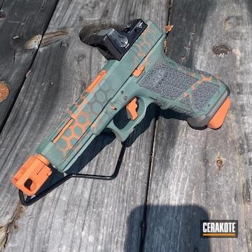 Glock 22 Cerakoted Using Hunter Orange, Charcoal Green And Sniper Grey