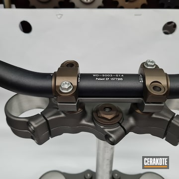 Motorcycle Parts Cerakoted Using Midnight Bronze And Tungsten