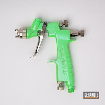 Iwata Spray Paint Gun Cerakoted Using Cerakote Fx Mystique And Parakeet Green