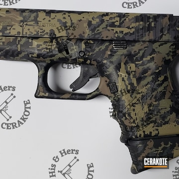 Custom Camo Glock 27 Cerakoted Using Forest Green, Multicam® Pale Green And Sniper Grey