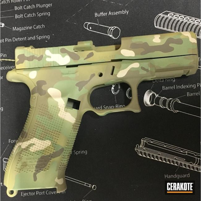 Custom Camo Glock 19x Cerakoted Using Desert Sand, Multicam® Pale Green And Chocolate Brown
