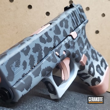 Cheetah Print Glock 48 Cerakoted Using Multicam® Dark Grey, Snow White And Rose Gold
