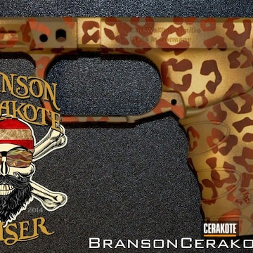 Cheetah Print Glock Frame Cerakoted Using Troy® Coyote Tan, Copper Suede And Graphite Black