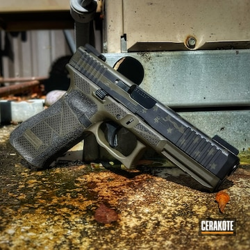 Distressed American Flag Themed Glock 17 Gen 5 Cerakoted Using Armor Black And O.d. Green