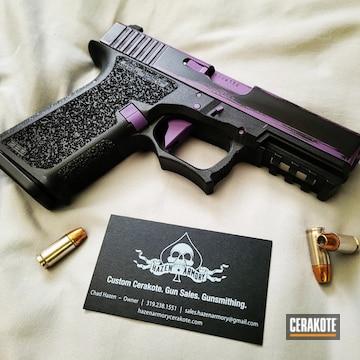 Distressed Glock Cerakoted Using Graphite Black And Bright Purple