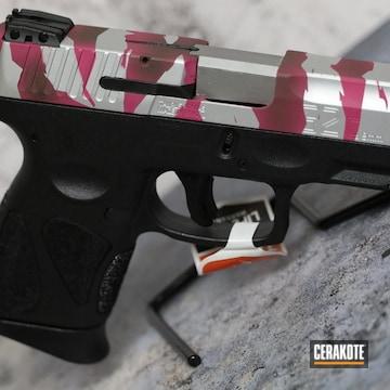Taurus Pistol G2c Pistol Cerakoted Using Satin Aluminum, Sig™ Pink And Magpul® O.d. Green