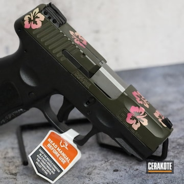 Flowered Themed Taurus G2c Pistol Cerakoted Using Sig™ Pink, Light Sand And Magpul® O.d. Green