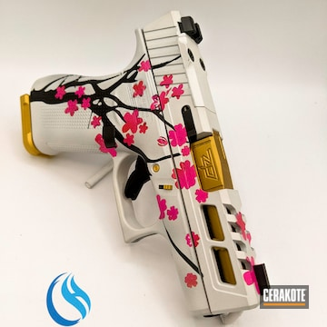 Cherry Blossom Tree Themed Glock Cerakoted Using Crimson, Frost And Prison Pink