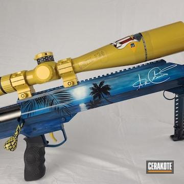 Custom Barrett Rifle Cerakoted Using Bright White, Usmc Red And Sky Blue