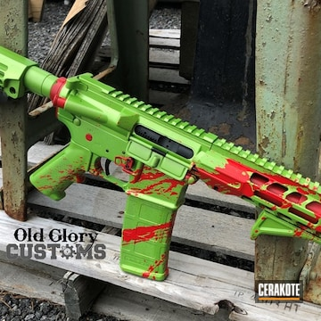 Blood Splatter Themed Ar Cerakoted Using Zombie Green, High Gloss Ceramic Clear And Stoplight Red
