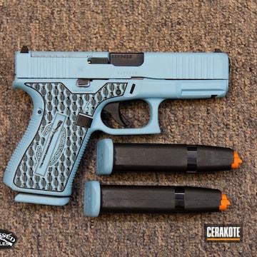 Glock 19 Cerakoted Using It's A Boy And Blue Titanium