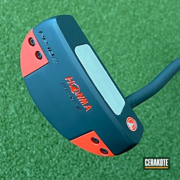 Honma Putter Cerakoted Using Graphite Black And Ruby Red