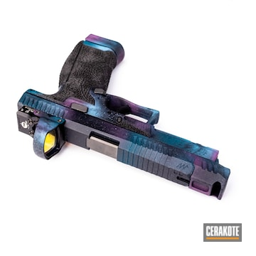 Galaxy Themed Cz P10c Pistol Cerakoted Using Sig™ Pink And Sky Blue