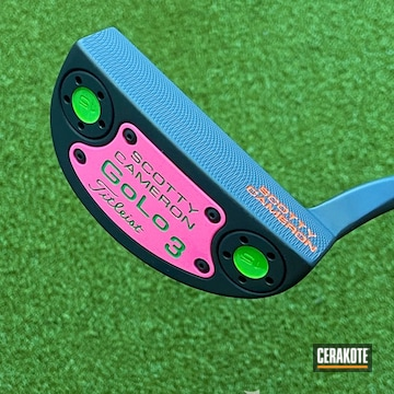Scotty Cameron Putter Cerakoted Using Prison Pink And Graphite Black