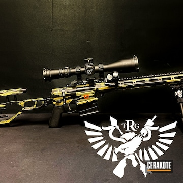 Custom Camo Bolt Action Rifle Cerakoted Using Noveske Bazooka Green, Armor Black And Glock® Fde