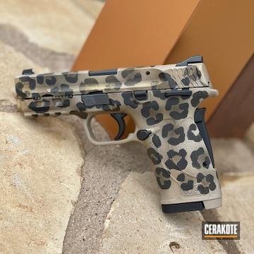 Leopard Print Smith & Wesson M&p Shield Pistol Cerakoted Using Light Sand, Graphite Black And Burnt Bronze