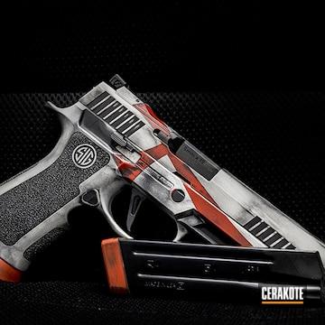 Sig Sauer P320 Pistol Cerakoted Using Crimson, Armor Black And Frost