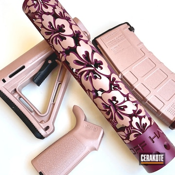 Ar Handguard And Parts Cerakoted Using Rose Gold And Black Cherry