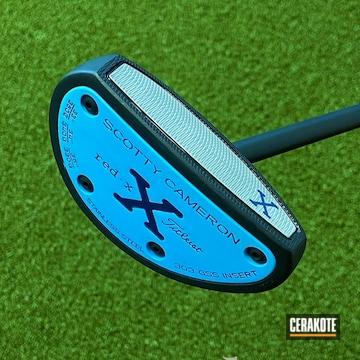 Scotty Cameron Golf Putter Cerakoted Using Blue Raspberry And Graphite Black