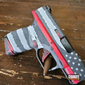Distressed American Flag Themed Springfield Armory Hellcat Pistol Cerakoted Using Usmc Red, Sniper Grey And Battleship Grey