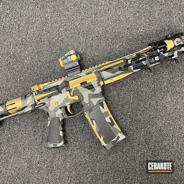 Splinter Camo Ar Build Cerakoted Using Sig™ Dark Grey, Bull Shark Grey And Graphite Black