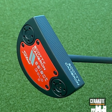 Scotty Cameron Putter Cerakoted Using Graphite Black And Ruby Red