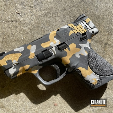Smith & Wesson M&p Shield Cerakoted Using Satin Aluminum, Sniper Grey And Gold